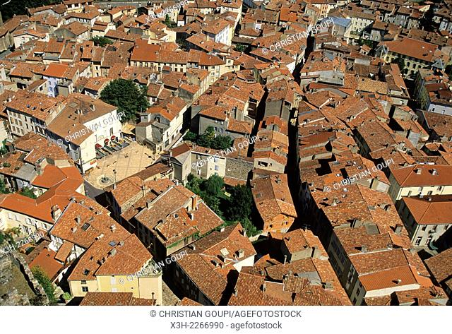 overview of tiled roof of Foix from the Castle, Ariege department, Midi-Pyrenees region, France, Europe