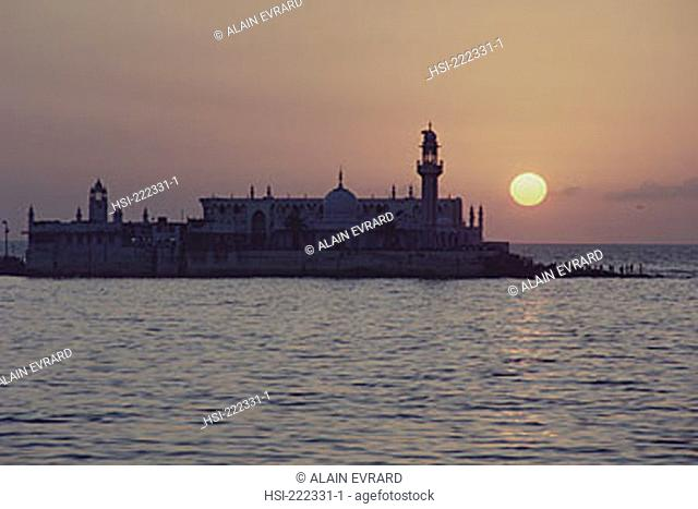 Asia, India, Mumbai, Bombay, Haji Ali's Tomb, waterfront, architecture, religion, building, structure, sunset