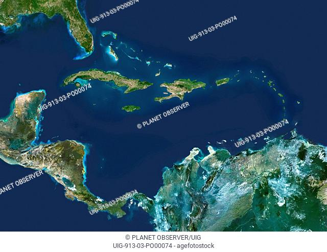 Caribbean Islands, True Colour Satellite Image. Caribbean Islands, true colour satellite image. This image was compiled from data acquired by LANDSAT 5 & 7...