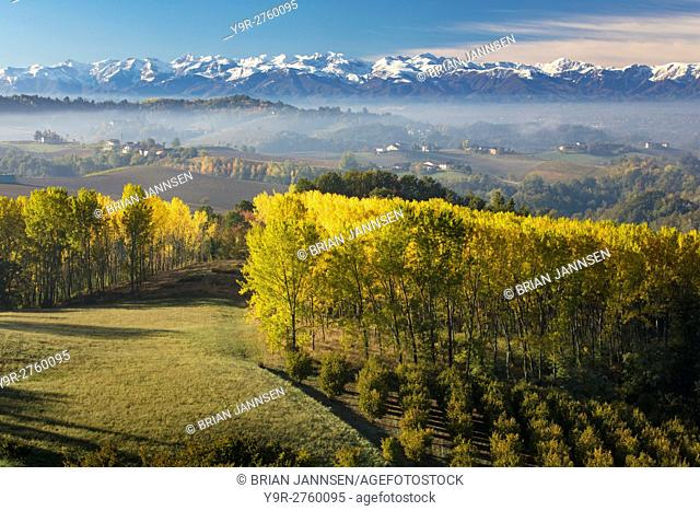 Autumn view across the Po Valley to the Ligurian Alps near Monforte d'Alba, Piemonte, Italy