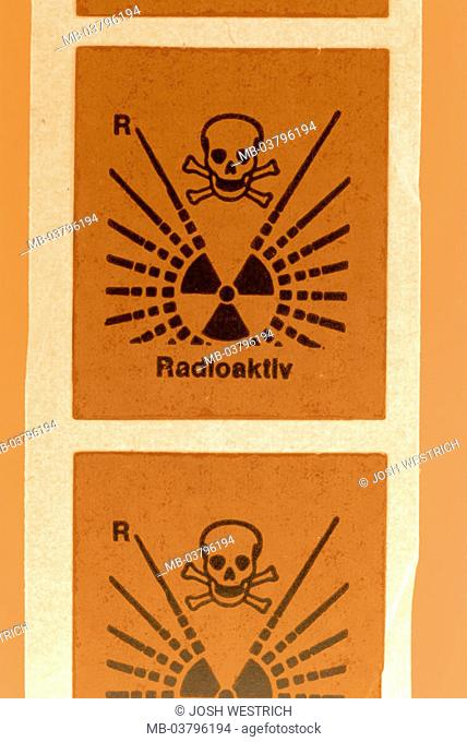 Stickers, danger symbol, radioactivity   Danger signs, symbol, bell characters, warning, hint, hint signs, danger, dangerously, stroke signs skull, radiation