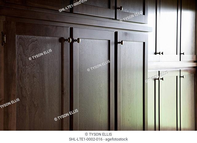 Detail wooden kitchen cabinets