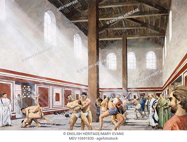 Wall Roman Site (Letocetum), Staffordshire. Interior view. The gymnasium area of the baths. Reconstruction drawing by Ivan Lapper