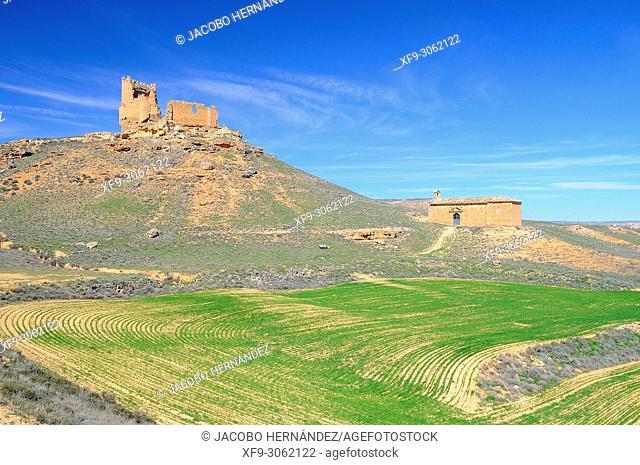 Castle of La Daya and hermitage of Nuestra Señora de la Torre. Monteagudo de las Vicarías. Soria Province. Castilla y León. Spain