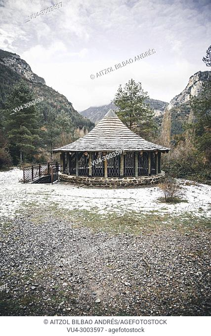 Medieval snowfield in Burgui, Navarra, Basque Pyrenees. Roncal valley is a must seen place if you come to the Basque country