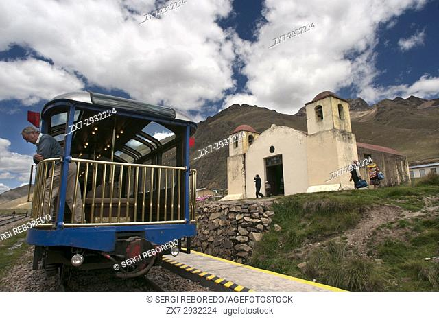 Church in La Raya pass, Puno, Peru. Andean Explorer, luxury train from Cusco to Puno. In half the distance the train makes a stop along the way at a place...