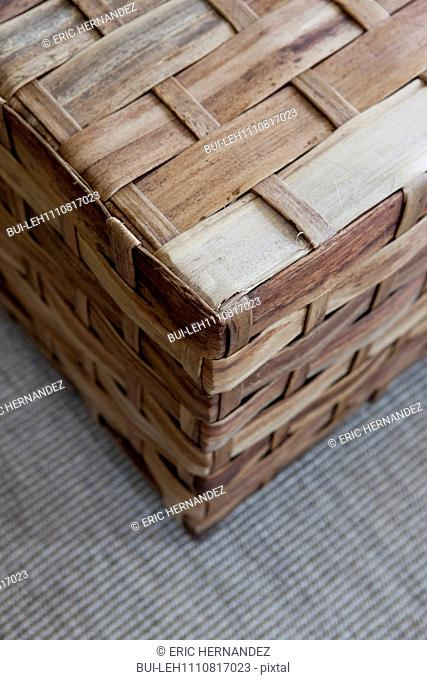 Close-up of a box made of woven bamboo