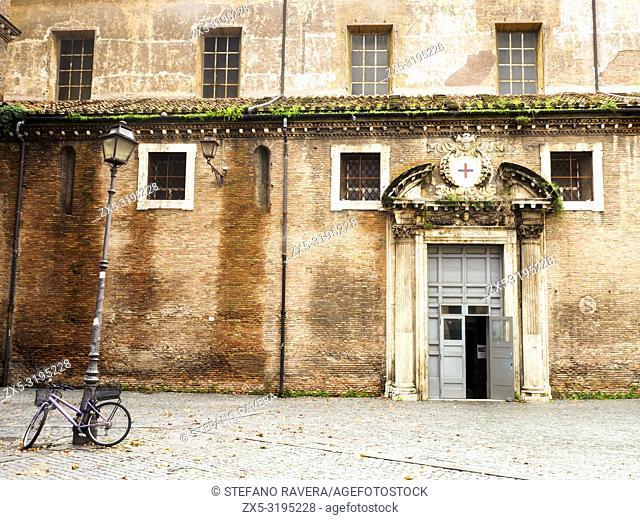 Building facade in Largo san Giovanni de Matha, Trastevere - Rome, Italy