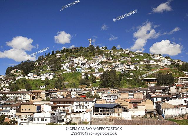 View to the Virgin of Quito-Virgen de Quito statue at Cerro Panecillo, Quito, Ecuador, South America