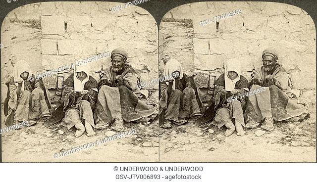 Unclean! Unclean! Wretched lepers outside of Jerusalem, Palestine, Stereo Card, circa 1896