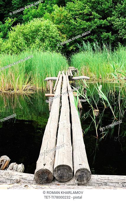 Ukraine, Dnepropetrovsk region, Novomoskovsk district, Wooden footbridge over waterbay