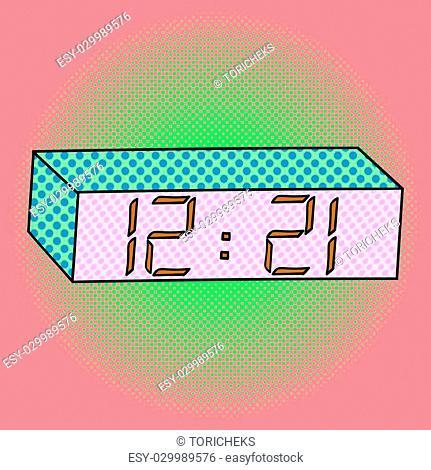 Digital watch pop art design vector illustration. Clock separate objects. Timer hand drawn doodle design elements