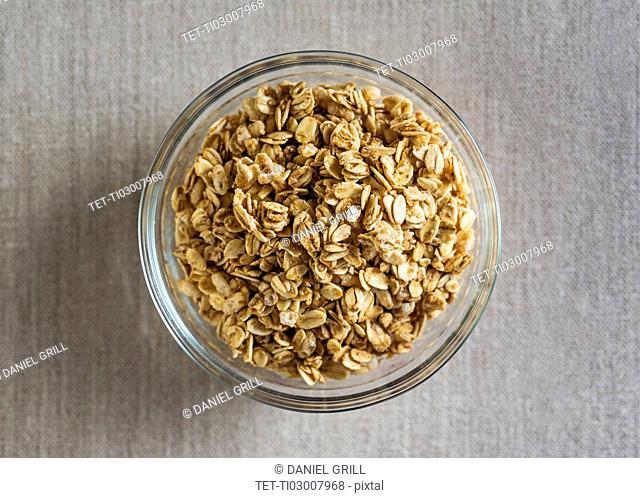 Granola in glass bowl
