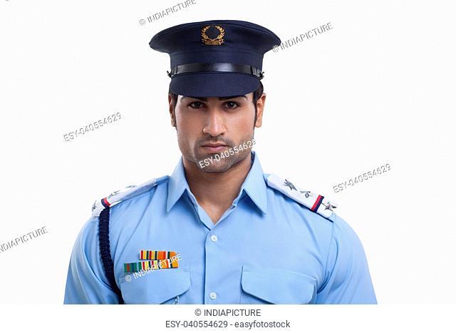 Close-up portrait of a security guard