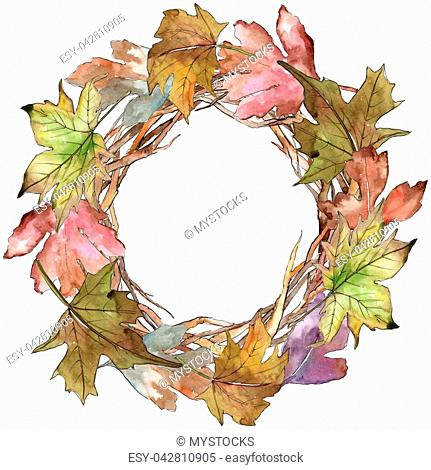 Leaves of hawthorn wreath in a watercolor style. Aquarelle leaf for background, texture, wrapper pattern, frame or border