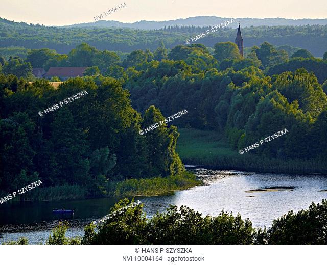 View from Rummelsberg mountain to Lake Wesensee in Schorfheide-Chorin Biosphere Reserve near Brodowin, Brandenburg, Germany