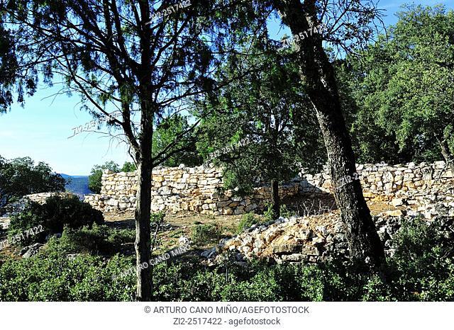 Wall. Celtiberian settlement of Peña Moñuz, IV-IIIth centuries BC. Alto Tajo Natural Park. Olmeda de Cobeta, Guadalajara, Spain
