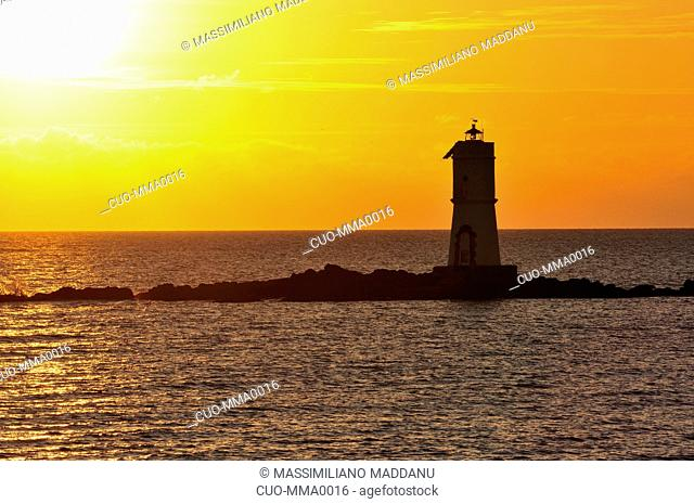 Mangiabarche lighhouse al sunset, Calasetta, Sardinia, Italy, Europe