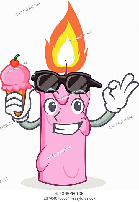 With ice cream candle character cartoon style vector illustration