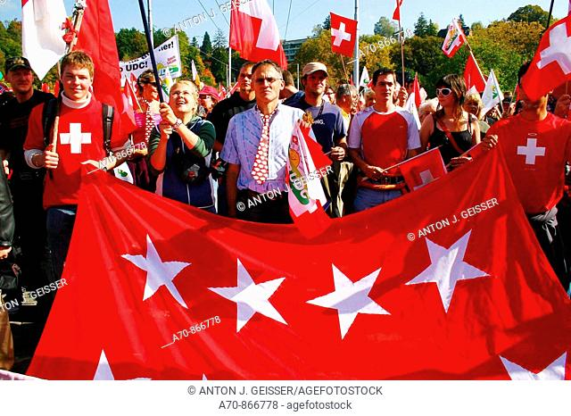 SVP demonstration in Bern before October 21 parliamentary election, Switzerland (october 6, 2006)