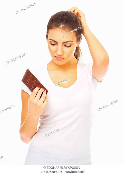 Young healthy girl with chocolate isolated