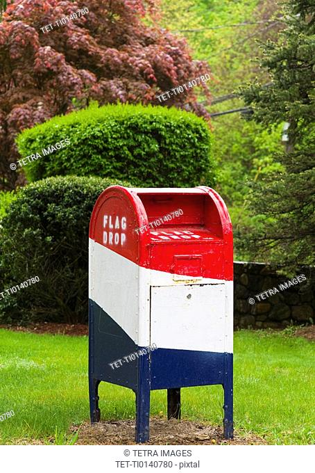 Red white and blue mailbox