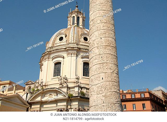 Chiesa del Santissimo Nome di Maria al Foro Traiano by Antoine Derizet and completed in 1751  In the foreground we see a partial view of the Colonna Traianna...