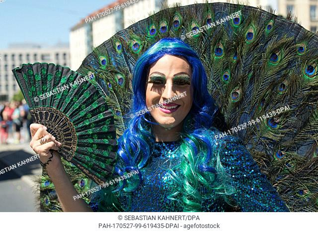 A participant of the Christopher Street Day parades through the city of Dresden, Germany, 27 May 2017. Under the motto 'Warum nicht gleich?' (lit