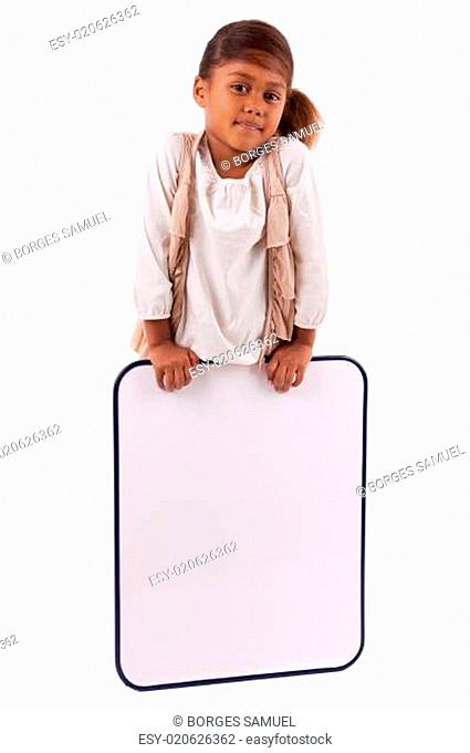 Cute little african american girl holding a whiteboard
