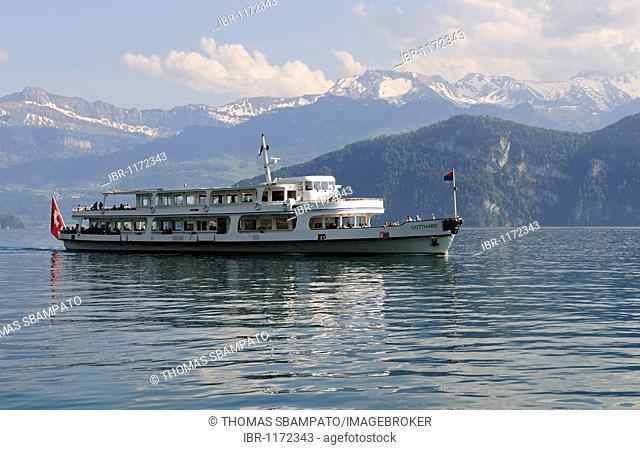 Excursion boat Gotthard on Lake Lucerne, Canton of Lucerne, Switzerland, Europe