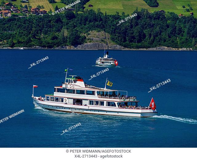 Excursion boat on the Lake Thun, Bernese Oberland, Bern, Switzerland, Europe