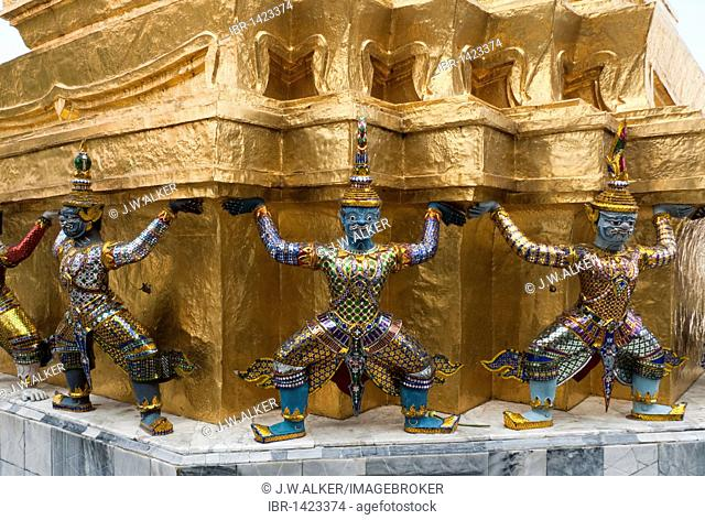 Golden Chedi, supported by twenty monkeys and demons, Wat Phra Kaew, Grand Palace, Bangkok, Thailand, Asia