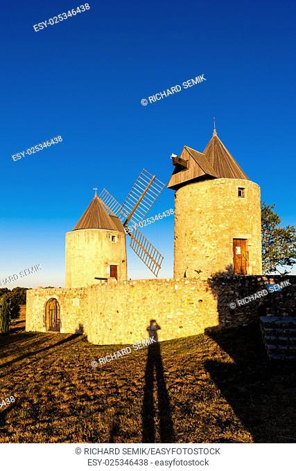 windmills in Regusse, Provence, France