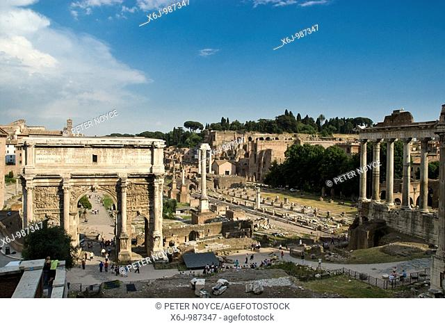 The Arch of Septimus Severus, Column of Phocas and Basilica Julia looking towards the Palintine in The Roman Forum