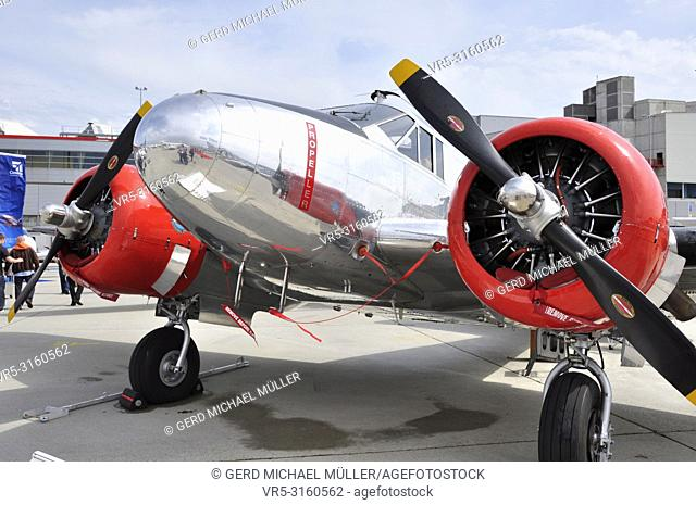 Geneva City: At EBACE on Geneva airport the airplaine industry shows the latest airlpanes and technologies like this propeller oldtimer