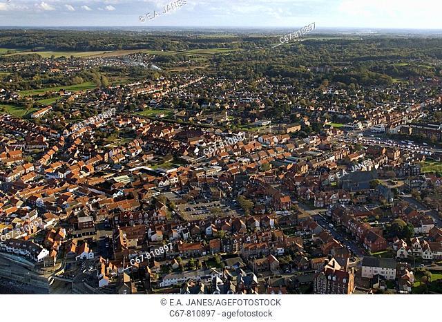 Sherringham Town from the air Norfolk UK October