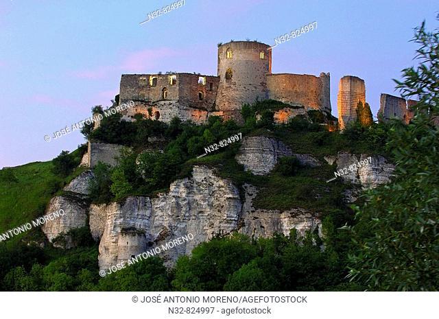 Galliard Castle Château-Gaillard at Dusk, Les Andelys Seine valley, Normandy, France