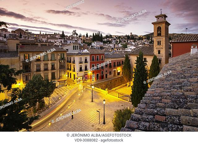 Plaza Nueva. Church of Santa Ana, Albaicín and Darro river at night. Granada City. Andalusia, Southern Spain Europe