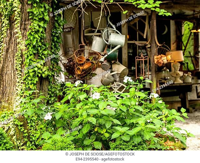 A garden shed with a collection of watering cans and garden tools.Georgia USA