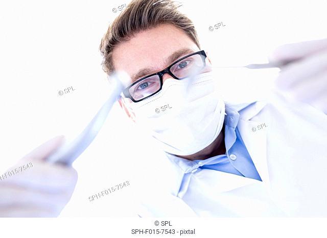MODEL RELEASED. Dentist holding dental drill