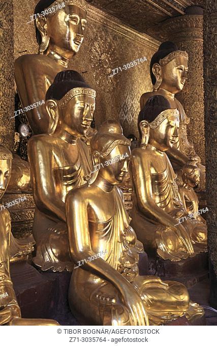 Myanmar, Yangon, Shwedagon Pagoda, Buddha statues,