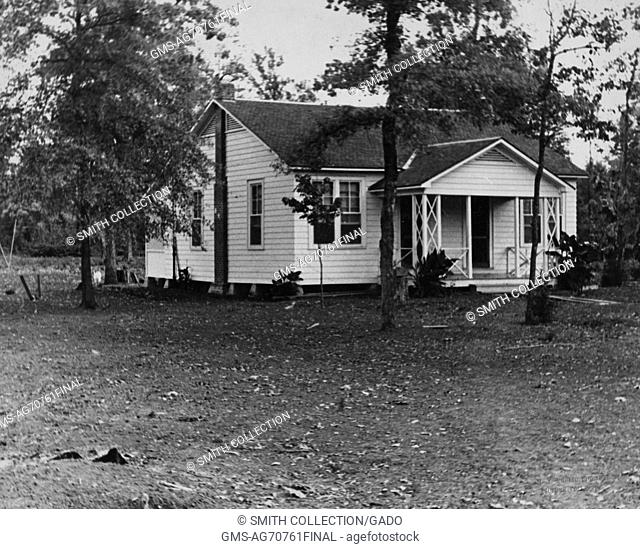 Black and white photograph of a house in Dyess Colony, one of the most famous resettlement colonies for impoverished farmers during the Great Depression