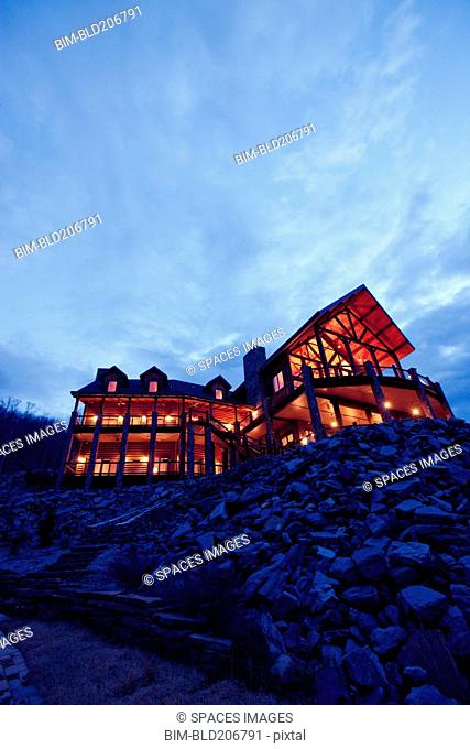 Large Wooden Hotel at Night