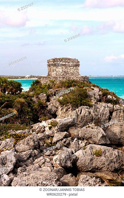 Mayan Ruins on a Cliff above the Ocean