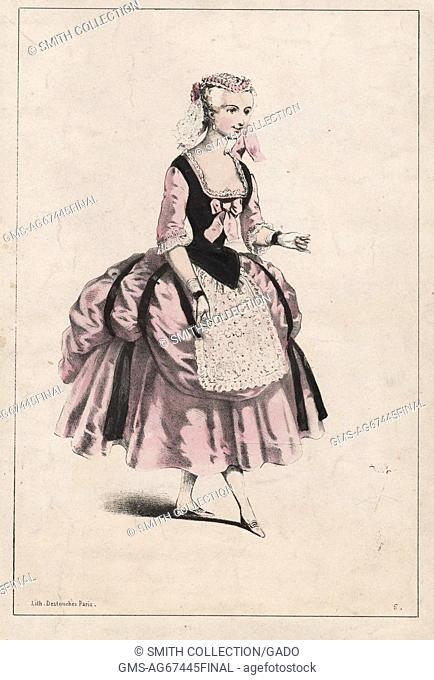 A color lithograph of Marie Anne de Cupis de Camargo. She is shown wearing a costume for a unidentified ballet, the dress itself is shown to be pink and black
