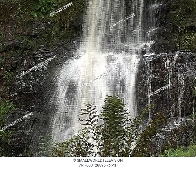 scenic waterfall in woodland, CU. Brecon Beacons, Wales, United Kingdom