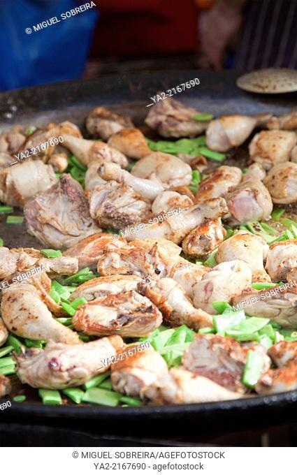 Cooking Chicken Dish in Large Pan at Portobello Market in London W11 - UK