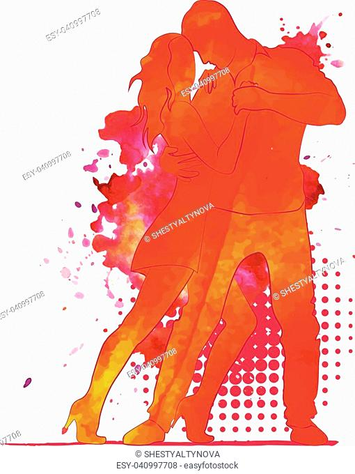 Silhouette of a dancing couple. Watercolor background