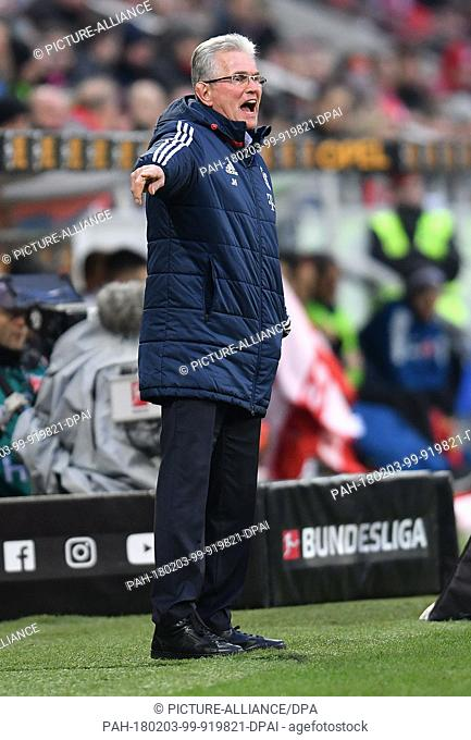 Bayern coach Jupp Heynckes pictured during the German Bundesliga football match between FSV Mainz 05 and Bayern Munich at the Opel Arena in Mainz, Germany