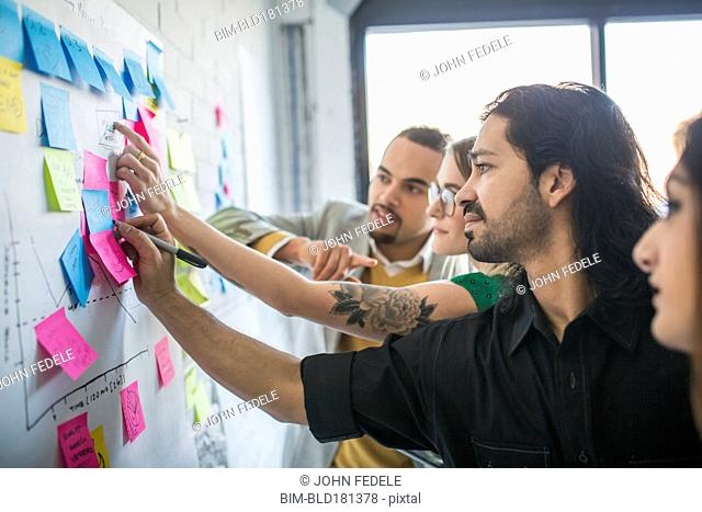 Business people using adhesive notes in office
